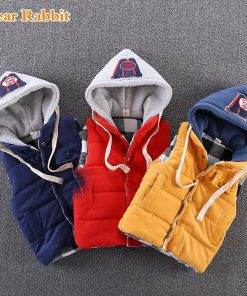 Autumn Winter Sleeveless Kids hooded Vest Boys Outerwear Spring Warm Children Vests Waistcoats Liner Jacket Coat for 1-10 Years 1