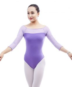 Adult Ballet Dance Leotards for Women Round Lace Neck Sleeve Bodysuit cut Leotard Gymnastics Suit adult Ballet Dancing Clothing  1