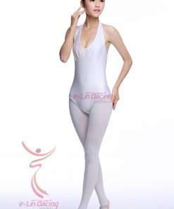 Ladies Bodysuit Halter Neck Women Backless Top Dance Leotards Dancewear Practice Costume 1