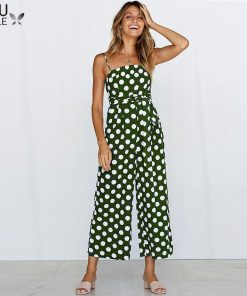 Elegant Polka Dot Sexy Spaghetti Strap Rompers Womens Jumpsuit Sleeveless Backless Bow Wide Legs Jumpsuits Leotard Overalls 1