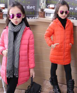 2018 thin long down jacket for girl cuhk virgins children's clothes keep warm hooded girls parka coats kids boys winter coat 1