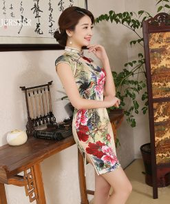 DJGRSTER 2018 top quality chinese VINTAGE Rose qipao wedding Flowers Print Cheongsams Short cheongsam party dresses qipao