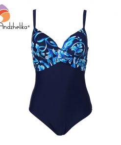 Andzhelika Plus Size Swimwear Women One Piece Swimsuit Summer Large Cup Print Sexy Fold Bodysuit Beach Bathing Suit Monokini