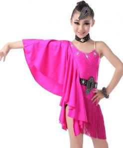 Girls Kids Bat Sleeve Latin Dance Dresses Fringed Skirts Latin Competition Costumes Children Ballroom Dancing Stage Wear 1