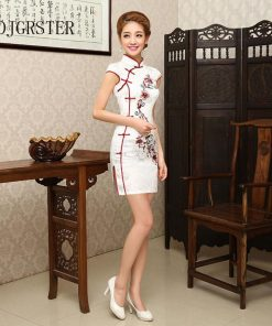 DJGRSTER Summer Cheongsam Vintage Chinese Women Elegant Dress Silk White Embroidery Slim Short Qipao Evening Vestidos Cheongsam 1