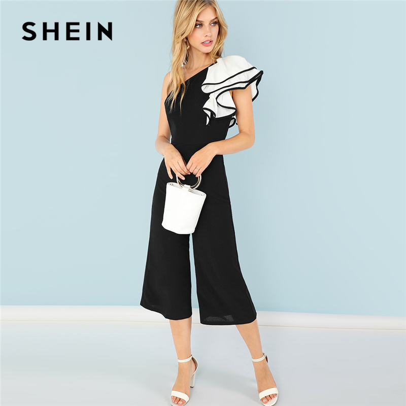 SHEIN Black Party Elegant Exaggerate Ruffle Trim One Shoulder Flare Leg Office Lady Jumpsuit Summer Women Highstreet Jumpsuits
