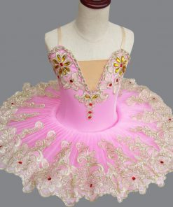 Professional plattered Tutu Pink Ballet Training Dance Performance Costume Tutu Children Sling Swan stage costume