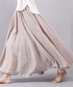 Sherhure 2018 Women Linen Cotton Long Skirts Elastic Waist Pleated Maxi Skirts Beach Boho Vintage Summer Skirts Faldas Saia