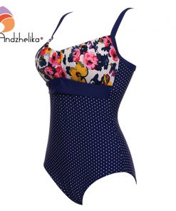 Andzhelika 2017 Sexy One Piece Suit Women Summer Print Floral Dot Swimsuit Beach Wear Halter Bathing Suit Plus Size Swimwear 1