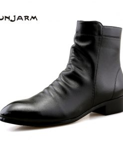 JUNJARM 2017 Fashion Men Shoes Soft Leather Men Boots Men Waterproof Warm Shoes Black Comfortable Men Ankle Boots