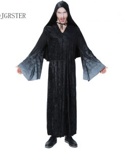 DJGRSTER Adults Ghost Halloween Cosplay Ghost Clothes Black Cape Hooded Cloaks Halloween Costume Party Costumes For Man