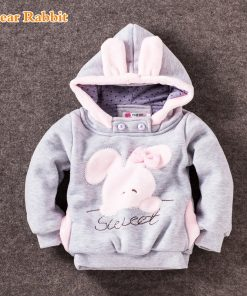 2018 Children's Garment Autumn Winter Children Cotton-padded Cute rabbit Cartoon Even Hat Casual baby Coat Sweater girls jackets