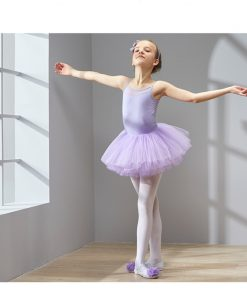 Kids Children Spaghetti Strap Ballet Tulle Dress Girls Back Mesh Gymnastics Leotard Tutu Dress Ballerina Fancy Costumes