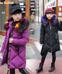 -30 degrees Girls Cotton-padded Outerwear & Coats 2018 Winter Children Warm Clothes fashion multicolour Fur Collar Jacket 3-16 Y