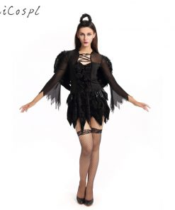 Halloween Costume Women Adutl Black Angel Cosplay Fantasy Sexy Party Dress With Wing Gothic Style Lady Festival Fancy Free Size