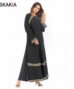 Siskakia Muslim Women Dressing gowns Golden Ribbon embroidery patchwork rhinestone design musulman abaya kaftans and Jubah UAE  1