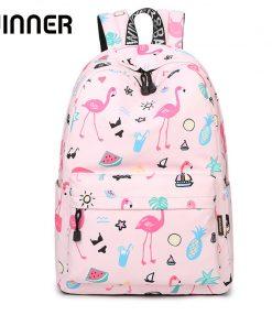 Waterproof Women Backpack Cute Bookbag Pink Flamingo Animal Knapsack Printing School Bagpack Bag for Teenage Girls Mochila