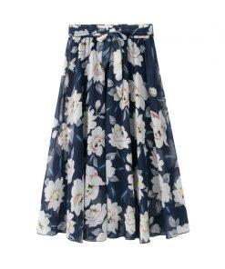 2018 Summer Women Long Chiffon Skirts Flower Print Boho High Waist Women Skirts Jupe Femme Women Floral Skirt Saia Faldas