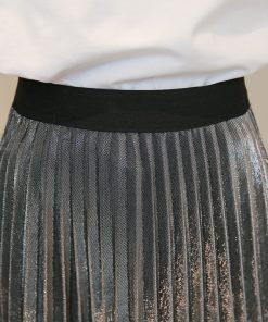 2017 Women Metallic Silver Skirt Elastic Waist Midi Skirt High Waist Metallic Pleated Skirt Party Club Ladies Saia Fenimias 1