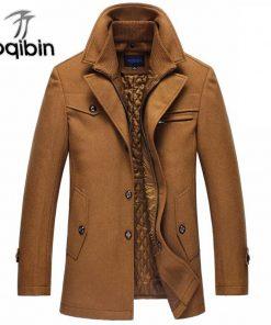 2018 Trench Coat Men Winter Thick Windbreaker Long Woolen Overcoat  Masculino Palto Casaco Jaket Mens 4XL Trench Wool Jackets