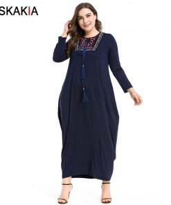 Siskakia Autumn 2018 Maxi long dress vintage Embroidery patchwork tassel drawstring design basic dresses Navy solid casual women