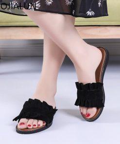 SUOJIALUN 2018 Summer Fashion Ruffles Flat Slippers Beach Slippers Home Flip Flops Slidea Comfortable Home Flat Sandal Shoes 1