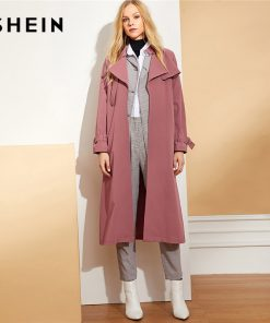 SHEIN Burgundy Waist Belted Solid Long Coat Highstreet Casual Long Sleeve Plain Coats Office Lady Autumn Minimalist Outwears
