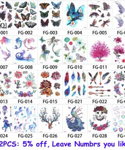 glaryyears 24 Designs 1 Sheet Glitter Body Tattoo FG Waterproof Sticker Cartoon Horse Cat Decal Temporary Children Tattoo Gift 1