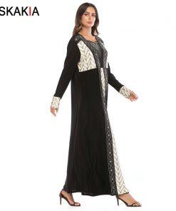 Siskakia A line long dress high waist Diamond beading contrast color design maxi dresses long sleeve muslim vintage abaya formal 1
