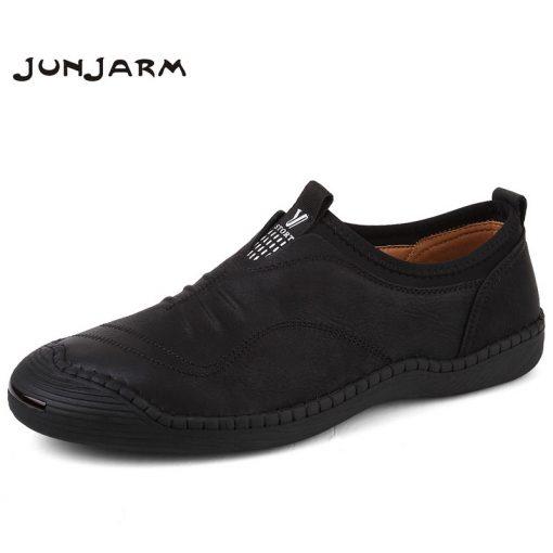 JUNJARM 2018 Spring Handmade Men Casual Shoes Brand Men Loafers Breathable Microfiber Men Flats High Quality Slip-on Men Shoes