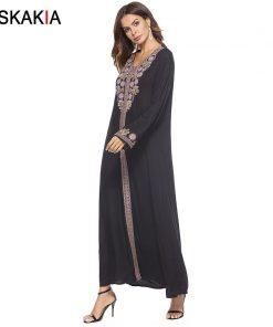 Siskakia Vintage ethnic Embroidery Long Dress Fashion Muslim women dresses Autumn Fall 2018 long Sleeve Ramadan robes Islamic  1