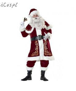 New Arrival Fancy Santa Claus Costume for Adult Old Man Christmas Cosplay Plus Size Winter Suit Set