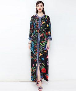 2018 designer fashion Casual Floral Print Maxi Long Dress Plus Size Women's Flare Sleeve High Split Belt Long Gown Elegant Dress