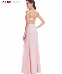 Ever Pretty EP07081 New Summer Pink V Neck Backless Evening Party Dress 2018 Sexy Long Beaded Prom Gowns Vestido Largo De Noche 1