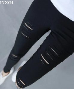 VISNXGI Summer Style White Hole Torn Leggings Women's Pants High Waist Femme For Women Skinny Black Casual Pants High Quality
