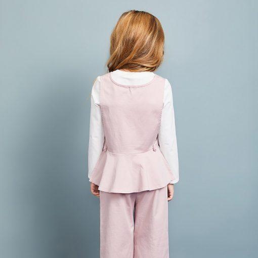 Balabala 3pcs/set girls clothing set cotton toddler girl clothes suit costume Solid preppy style tshirt + leggings + vest sets 3