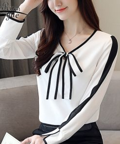 new Fashion womens tops and blouses 2018 chiffon blouse women long sleeve shirt women white bow v-neck OL blouse blusas 1026 40