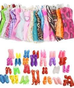 For Original Barbie  5PCS Barbie Doll Clothes &10 Pairs of Random Shoes Doll Accessories Fashion Party Princes Dress Girls Gift