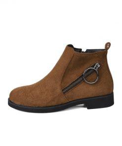 ESVEVA 2019 Woman Basic Boots Low Heels Zipper Ankle Boots Shoes Short Plush Square Heels Autumn Ladies Shoes Round Toe 34-43 1