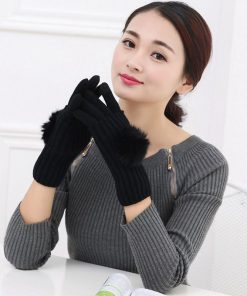 VISNXGI New 2018 Winter Gloves For Women Fur Ball Two Piece Touched Screen Mitten Fashion Warm Half Finger Gloves Female Mittens 1