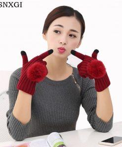 VISNXGI New 2018 Winter Gloves For Women Fur Ball Two Piece Touched Screen Mitten Fashion Warm Half Finger Gloves Female Mittens