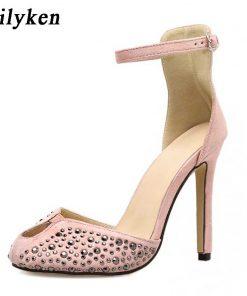 Eilyken Women High Heels Design Rivet Stiletto Pumps Sexy Lady Peep Toe Sandals Strap Buckle Princess Party Shoes 1