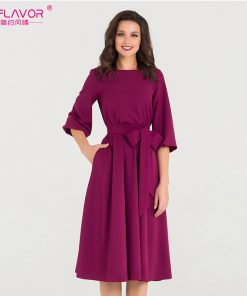 S.FLAVOR New Spring autumn Dress O-Neck three quarter sleeve elegant party vestidos Women vintage dress soild color no pocket