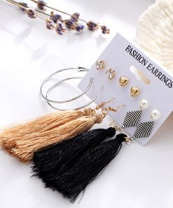 17KM Bohemia Long Tassel Dangle Earrings Set For Women Crystal Heart Creole Earring Fabric Female Fashion 2018 New Jewelry 1