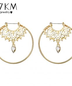 17KM Bijoux Gold Color Big Circle Round Hoop Earrings For Woman Boho Water Creole Earrings Party Jewelry Bohemian Accessories