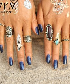17KM Boho Jewelry Stone Midi Ring Sets for Women Anel Vintage Tibetan Turkish Silver Color Flower Knuckle Rings Gift 8pcs/Set  1