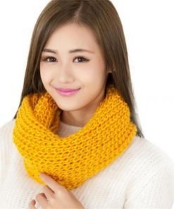 2018 Female Scarves Fashion Women Scarf Solid Autumn Crochet Blend Wrap Ring Long Shawl Warm Winter knitted Circle Snood Ring 1