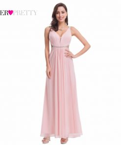 Ever Pretty EP07081 New Summer Pink V Neck Backless Evening Party Dress 2018 Sexy Long Beaded Prom Gowns Vestido Largo De Noche