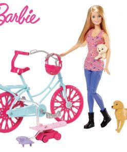 Barbie Originals Bicycle Riding Kit Dog Toys for children Of American Girl Doll Brinquedos For Birthday kawaii Gift CLD94