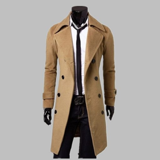New Fashion Trench Coat Men Long Coat Winter Famous Brand Mens Overcoat Double-Breasted Slim Fit Men Trench Coat Plus Size 3